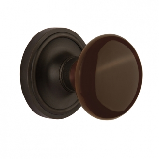 Nostalgic Warehouse Brown Porcelain Knob with Classic Rose Oil Rubbed Bronze