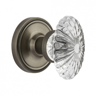 Nostalgic Warehouse Oval Fluted Crystal Knob with Classic Rose Antique Pewter