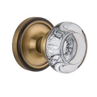 Nostalgic Warehouse Round Clear Crystal Knob Set with Classic Rose Antique Brass