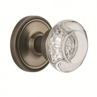 Nostalgic Warehouse Round Clear Crystal Knob with Classic Rose Antique Pewter