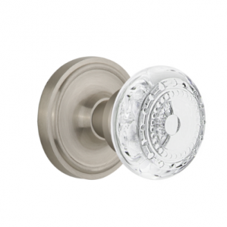 Nostalgic Warehouse Crystal Meadows Knob Set with Classic Rose Satin Nickel