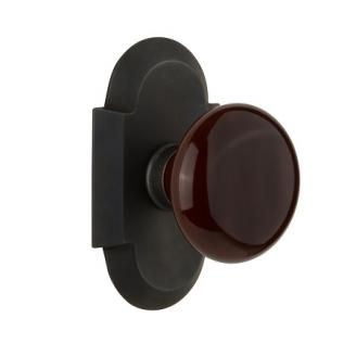 Nostalgic Warehouse Cottage Plate with Brown Porcelain Knob Oil Rubbed Bronze
