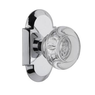 Nostalgic Warehouse Cottage Plate with Round Clear Crystal Knob Bright Chrome