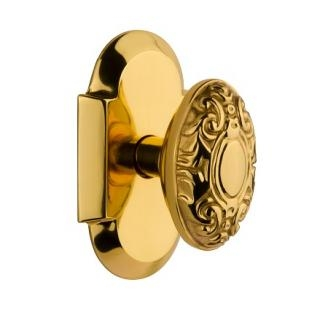 Nostalgic Warehouse Cottage Plate with Victorian Knob Polished Brass