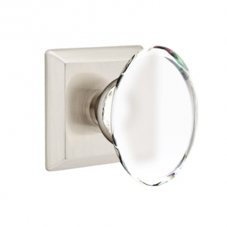 Emtek Hampton Door knob with Quincy Rose Satin Nickel (US15)