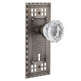 Nostalgic Warehouse Craftsman Backplate Privacy Mortise with Crystal Knob AP