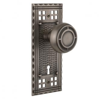 Nostalgic Warehouse Craftsman Backplate with Mission knob Antique Pewter (AP)