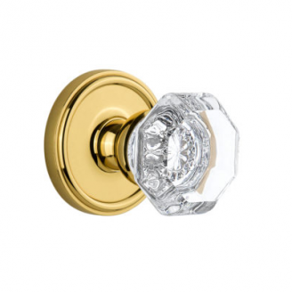 Grandeur Chambord Knob with Georgetown Rose Polished Brass