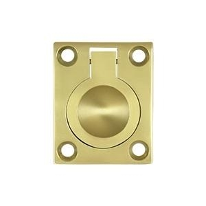 Deltana FRP175 Solid Brass Flush Ring Pull Polished Brass