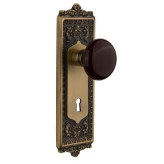 Nostalgic Warehouse Egg & Dart Backplate with Homestead Knob Satin Nickel