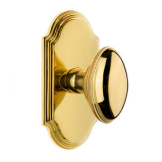 Grandeur Eden Prairie Door Knob Set with Arc Short Plate Polished Brass