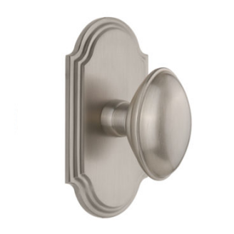 Grandeur Eden Prairie Door Knob Set with Arc Short Plate Satin Nickel