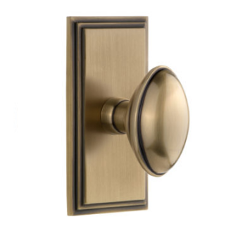 Grandeur Eden Prairie Door Knob Set with Carre Short Plate Vintage Brass