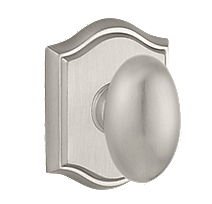Baldwin Reserve Ellipse Knob with Arched Rose (TAR) shown in Satin Nickel (150)