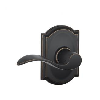 Schlage F10ACC716CAM Accent Passage Door Lever Set with Camelot Rose