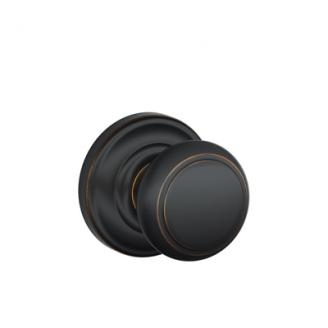 Schlage Andover Knob with Andover Decorative Rose Aged Bronze