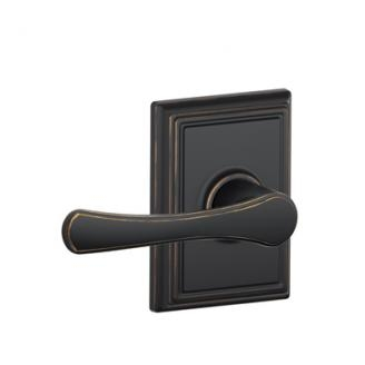 Schlage F10VLA716ADD Avila Passage Door Lever Set with Addison Rose