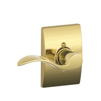 Schlage Accent Lever with Century Decorative Rose Bright Brass