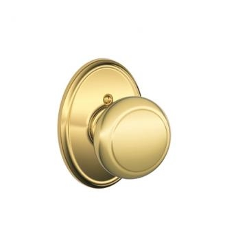 Schlage Andover Knob with Wakefield Decorative Rose Bright Brass
