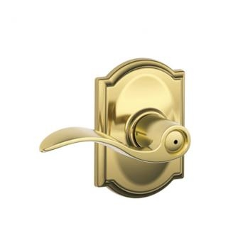 Schlage F40ACC605CAM Accent Privacy Door Lever Set with Camelot Rose