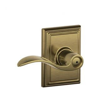 Schlage Accent Lever with Addison Decorative Rose in Antique Brass