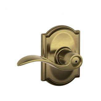 Schlage F40-ACC-CAM Accent Privacy Door Lever Set with Camelot Rose