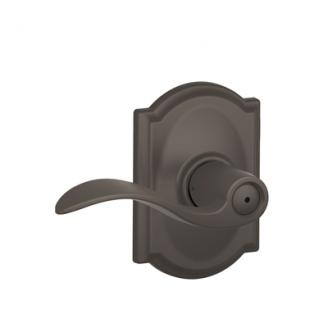 Schlage F40ACC613CAM Accent Privacy Door Lever Set with Camelot Rose