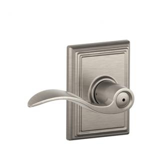 Schlage F40ACC619ADD Accent Privacy Door Lever Set with Addison Rose