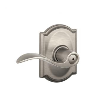 Schlage F40ACCCAM Accent Privacy Door Lever Set with Camelot Rose