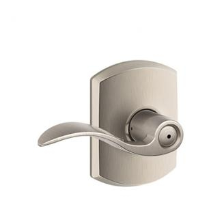 Schlage F40ACC619GRW Accent Privacy Door Lever Set with Greenwich Rose