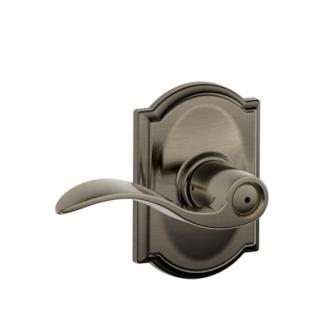 Schlage F40ACC620CAM Accent Privacy Door Lever Set with Camelot Rose