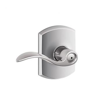 Schlage F40ACC625GRW Accent Privacy Door Lever Set with Greenwich Rose
