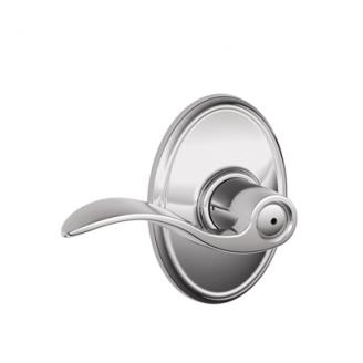Schlage F40ACC625WKF Accent Privacy Door Lever Set with Wakefield Rose