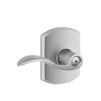 Schlage F40ACC626GRW Accent Privacy Door Lever Set with Greenwich Rose