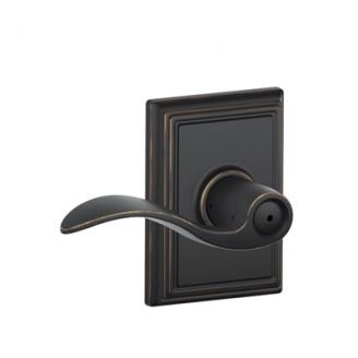 Schlage F40ACC716ADD Accent Privacy Door Lever Set with Addison Rose