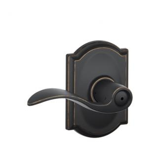 Schlage F40ACC716CAM Accent Privacy Door Lever Set with Camelot Rose