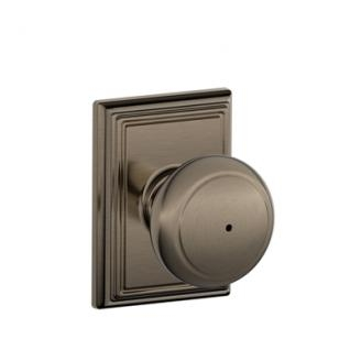 Schlage Andover Knob with Addison Decorative Rose in Antique Pewter (620)