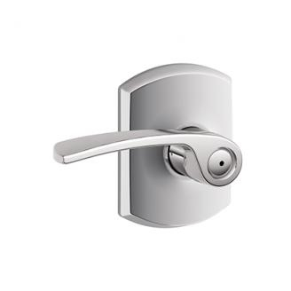 Schlage F40MER625GRW Merano Privacy Door Lever Set with Greenwich Rose