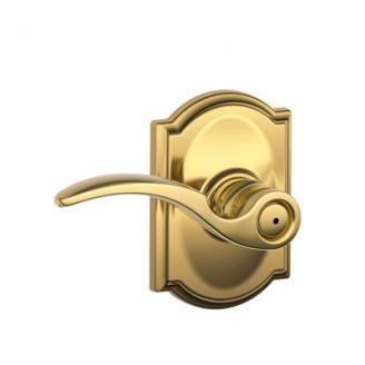 Schlage F40STA605CAM St. Annes Privacy Door Lever Set with Camelot Rose