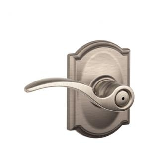 Schlage F40STA619CAM St. Annes Privacy Door Lever Set with Camelot Rose