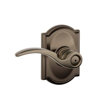 Schlage F40STA620CAM St. Annes Privacy Door Lever Set with Camelot Rose