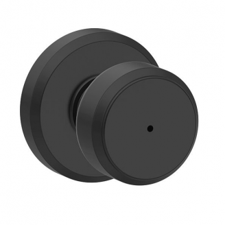Schlage F40BWE622GSN Bowery Privacy Door Knob Set with Greyson Rose Matte Black