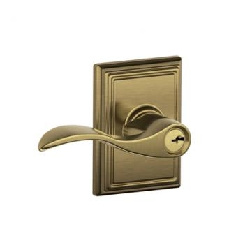 Schlage F51ACC609ADD Accent Keyed Entry Lever Knob Set with Addison Rose