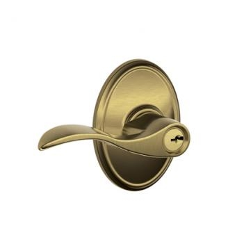 Schlage F51ACC609WKF Accent Keyed Entry Door Lever Set with Wakefield Rose