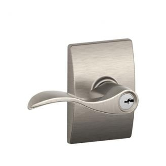 Schlage F51ACC619CEN Accent Keyed Entry Door Lever Set with Century Rose
