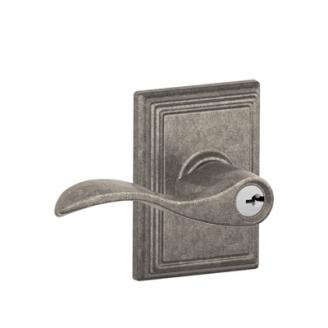 Schlage F51ACC621ADD Accent Keyed Entry Lever Knob Set with Addison Rose