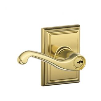 Schlage Flair Lever with Addison Decorative Rose in Bright Brass