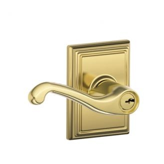 Schlage F51FLA505ADD Flair Keyed Entry Lever Knob Set with Addison Rose