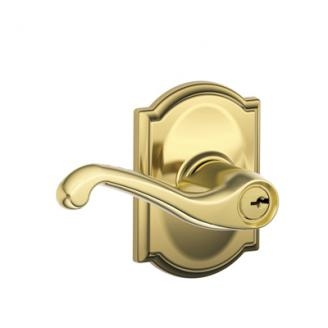 Schlage F51FLA505CAM Flair Keyed Entry Lever Set with Camelot Rose