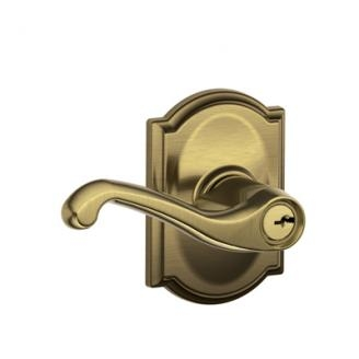 Schlage F51FLA609CAM Flair Keyed Entry Lever Set with Camelot Rose